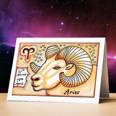 Aries birthday card, aries star sign zodiac astrology birthday card, aries stationery gift star sign zodiac card for birthdays Astrology Stars, Aries Astrology, Aries Horoscope, Aries Zodiac, Pisces Star Sign, Zodiac Star Signs, Pisces Birthday, Unique Cards, Original Artwork