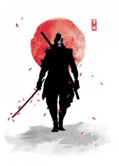 One Armed Wolf Gaming Poster Print Ronin Samurai, Samurai Warrior, Wolf Knight, Samurai Wallpaper, Wolf Poster, Samurai Artwork, Japon Illustration, Botanical Illustration, Japanese Warrior