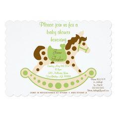 Gender Neutral Rocking Horse Baby Shower Card