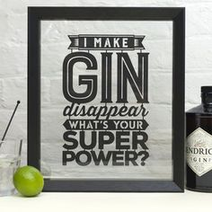 I Make Gin/Beer/Wine/Cider Disappear Papercut-What's Your Super Power Paper Cut-Wall Art-Gift For Friend/Brother/Sister/Mum/Dad Gin Quotes, Cocktail Bitters, Cocktail Drinks, Cocktails, Gin Festival, Gin Tasting, Gin Gifts, Gin Bar, Gin Lovers