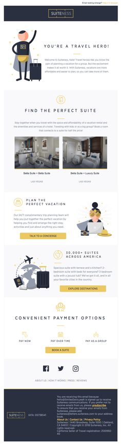 Hi Smiles Davis, Welcome to Suiteness - Really Good Emails Html Email Design, Email Marketing Design, Email Marketing Campaign, Engagement Emails, Email Web, Email Layout, Thank You Email, Welcome Emails, Email Design Inspiration