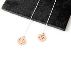 Round threader earrings with random lines pattern in bronze or brass and silver thread by Camillette Jewelry