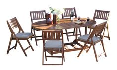Outdoor Interiors S10555 7-Piece Fold and Store Table Set, Eucalyptus, All Wood. Large oval assembled table, sets-up easily with 6 well-appointed folding chairs. Chairs fold and store under the table for easy, quick storage. Set includes 6 230 gram, durable outdoor cushions and table cover. Includes 2 hardwood wheels for transport around decks, patios or into sheds/garages. Ships fully-assembled in 1 carton.