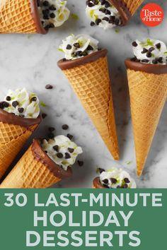 30 Last-Minute Holiday Desserts 15 Minute Desserts, No Bake Summer Desserts, Potluck Desserts, Holiday Desserts, Easy Desserts, Dessert Recipes, Summer Recipes, Italian Desserts, Dessert Ideas