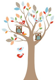 Kids tree vinyl wall decal with birds owls and by wallinspired, $80.00