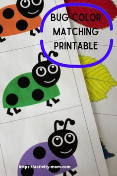Bug color matching activity is a free, printable for your toddler or preschooler.  Color matching bugs can be used in a busy bag, as a memory game, or even a matching game on a refrigerator. Outdoor Activities For Toddlers, Toddler Learning Activities, Rainy Day Activities, Indoor Activities, Toddler Preschool, Toddler Crafts, Fun Learning, Busy Bags, Kids Bags