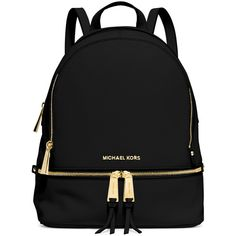 MICHAEL Michael Kors Rhea Small Zip Backpack ($325) ❤ liked on Polyvore featuring bags, backpacks, backpack, purses, black, real leather backpack, leather zipper backpack, zip bag, leather daypack and leather backpack