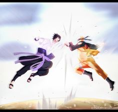 Naruto 694 - Naruto and Sasuke by X7Rust.deviantart.com on @DeviantArt