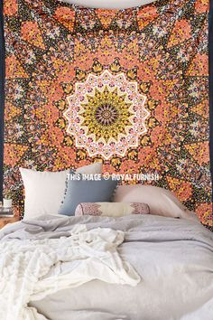 Buy Black multicolor Indian star mandala dorm and bedroom tapestry wall hanging bedspread at best price. Shipping worldwide USA, UK, Canada, Australia and more countries.