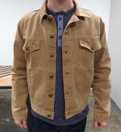 Sampling a stone washed canvas denim jacket for our Spring/Summer Collection.