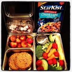 A colorful and healthy @Planet Box lunch: veggies and dill dip, wheat crackers and tuna, Ranier cherries, and a #grazebox snack for later #planetbox #veggies #lunch #yum by @Jaclyn Sullivan