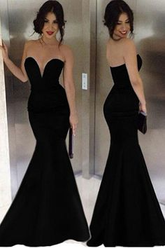 2017 Attractive Mermaid Sweetheart Pure Color Floor-Length Evening Dresses