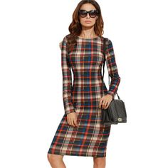 Elegant Bodycon Dress  Fall Plaid Long Sleeve Knee Length Pencil Dress