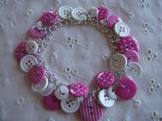 Pink and White Button Bracelet Free Shipping by whimsicalbeading, $10.00