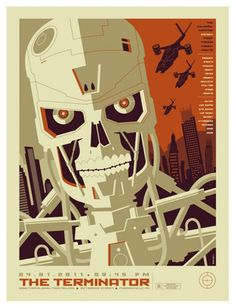 Version B - Retro Poster Illustration Design The Terminator by Tom Whalen Tom Whalen, Poster Series, Movie Poster Art, Fan Poster, Retro Illustration, Digital Illustration, Fan Art, Terminator Movies, Terminator 1984