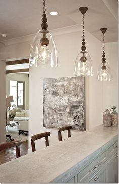 Kitchen Lighting Remodel Kitchen Pendants Lights Over Island - Foter - Kitchen Pendant Lighting, Kitchen Pendants, Kitchen Fixtures, Glass Pendants, Bar Pendant Lights, Glass Lights, Pendant Lamps, Hanging Pendants, Lights Over Island
