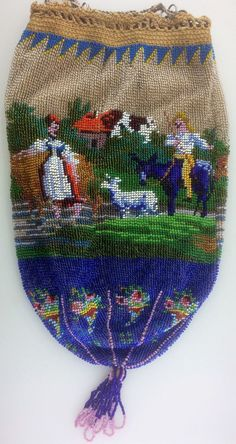 Antique/Vintage (1901-1919) Pastoral Farm Scene Micro Beaded Drawstring Purse Evening Bag. Very Good to Excellent Antique Condition as Shown with little to NO beads missing