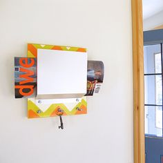 Love the pop of color here...POP modern chevron wall mount mail holder key rack by PIGandFiSH, $72.00