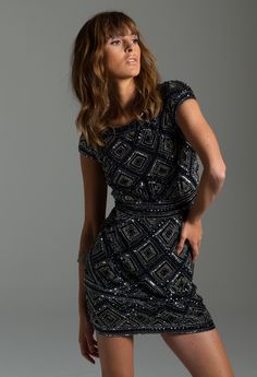 Beaded Short Party Dress with Cap Sleeves from Camille La Vie and Group USA