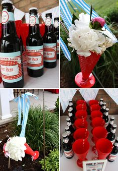 "ice cream social: cute red plastic ""waffle cone"" cups/vases"