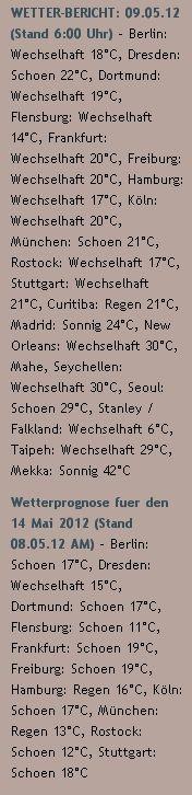 WETTER-BERICHT: 09.05.12 (Stand 6:00 Uhr) - http://www.schoeneswetter.com/wetterwuensche/wetter-2012/mai-2012/wetter-9-mai-2012.php