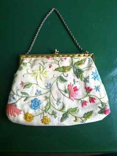 Vintage Crewel Linen Embroidery Purse