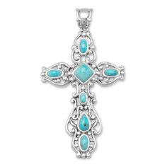 20.5mm 925 Sterling Silver Rhodium Oxidized Simulated Turquoise Butterfly Pendant