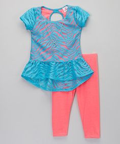 Love this Blue Zebra Lace Top & Leggings - Infant, Toddler & Girls by Dollhouse on #zulily! #zulilyfinds