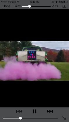 Cute gender reveal. Colored powder from exhaust?