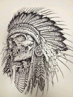 Tattoo sketches, tattoo drawings, indian tattoo design, tattoo indian, in. Tatto Skull, Indian Skull Tattoos, Skull Tattoo Design, Skull Art, Tattoo Designs, Indian Chief Tattoo, Indian Tattoo Design, Skull Design, Tatuajes Tattoos