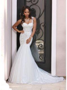 sexy mermaid tulle bridal wedding dresses