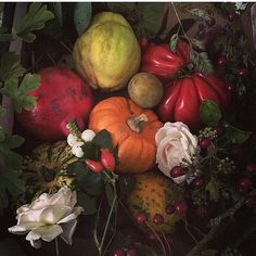 @mag.gieshep.herd  A composition of fruit, flowers and pumpkins captured by Blossomand Dill @blossomanddill  #Pumpkins #quince #tomato #pomegranate #roses #composition #study #stilllife #gourmet #blossomandill #arrangement #botanical #lux #flowers #food #botany #art #light #shadow #nature #natural #autumn #luxury #plum #fruit