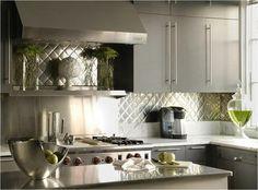 grey kitchen with metallic backsplash - fabulous!