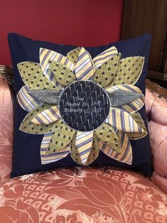 Excited to share this item from my shop: Personalized memorial bereavement Sunflower Pillow, made in loving memory, out of YOUR loved ones clothing or neckties. Memory Pillow From Shirt, Memory Pillows, Memory Quilts, Necktie Quilt, Necktie Purse, Shirt Quilts, Happy Halloween, Tie Pillows, Tie Crafts