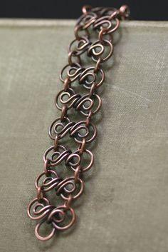 48642e3022cb Antigua pulsera de eslabones de cobre pulsera de cobre cobre Pulseras De  Eslabones