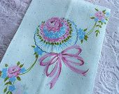 PINK ROSE TOWEL Hand Tea Fingertip Nosegay Tussie Mussie Bow Baby Blue Polka Dot White Cotton Fabric Hem Ribbon Posie Shabby Cottage Chic