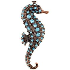 Goldtone Cubic Zirconia Seahorse Brooch (430 UYU) ❤ liked on Polyvore featuring jewelry, brooches, blue, cubic zirconia pendant, cz pendant, pin jewelry, cubic zirconia jewelry and blue jewelry