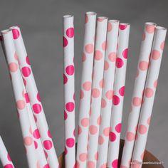 Pailles à pois roses -2 coloris - par 10  by My Sweet Boutique