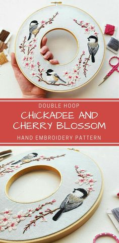 Hand Embroidery PDF Pattern: Spring Double Hoop Wreath, Chickadee and cherry blossom Needlepoint Design, Modern Embroidery, thread painting Embroidery Hoop Crafts, Modern Embroidery, Silk Ribbon Embroidery, Embroidery Hoop Art, Hand Embroidery Patterns, Cross Stitch Embroidery, Machine Embroidery, Etsy Embroidery, Brazilian Embroidery