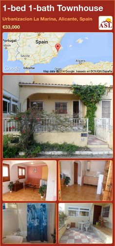 Townhouse for Sale in Urbanizacion La Marina, Alicante, Spain with 1 bedroom, 1 bathroom - A Spanish Life Portugal, Alicante Spain, Spanish House, Barcelona Spain, Open Plan, Townhouse, Terrace, Houses, Mansions