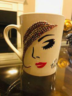 Coffee Mug Crafts, Diy Mug Designs, Different Shades Of Black, Diy Wine Glasses, Diy Mugs, Personalized Gifts For Her, Pink Bling, Cute Mugs, Bottle Art