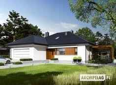 Eris II (wersja C) - projekt domu - Archipelag My Home Design, House Design, Stone Driveway, Bungalow House Plans, Design Case, Malaga, Outdoor Structures, Cottage House Plans, Pretty