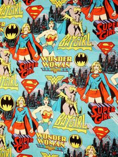 Comic Book Print Super Hero Turquoise Blue DC Super by PopFabric, $6.00