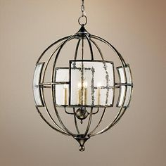 "Currey and Company Broxton 24"" Wide Bronze Chandelier"