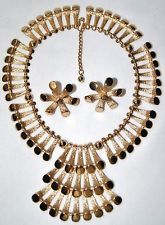 "Vintage Modernist ""Egyptian Revival"" Napier Necklace and Earring Set LN Book & Ad piece"
