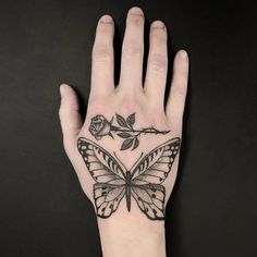 If you're looking for 3d, tiny, large, geometric, dreamy, delicate tattoo ideas in black ink or color, let these butterfly designs inspire your next piece of body art. Traditional Butterfly Tattoo, Butterfly Hand Tattoo, Colorful Butterfly Tattoo, Butterfly Tattoos For Women, Hand Tattoos For Women, Butterfly Tattoo Designs, Tattoo Designs Men, Tattoos For Guys, Future Tattoos