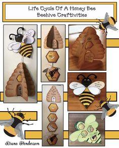 Life Cycle of a Honey Bee: Beehive Crafts Hexagon shaped activities, beekeeping, bee crafts, honey b Bee Crafts For Kids, Preschool Crafts, Bee Life Cycle, Bee Activities, Shape Activities, Sequencing Activities, Bee Hive Plans, Crown Crafts, Insect Crafts