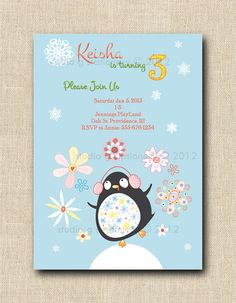 Happy Penguin Party  12 by StudioGStationery on Etsy, $24.00