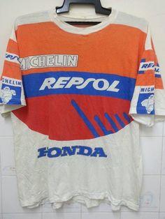 Vintage Very Rare Michelin Repsol Honda by SuzzaneVintage Vintage Type, Vintage Graphic, Mode Vintage, Motocross Shirts, Cactus Shirt, Aw17, Diy Shirt, Printed Tees, Cool Shirts