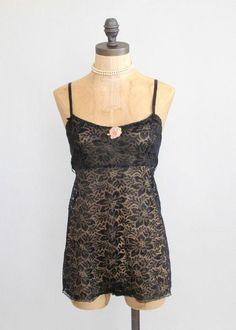 1920s Black lace Chemise Teddy.